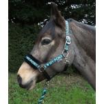 """Komplekt päitsed + jalutusnöör """"Love My Pony"""" / türkiis; pony, cob ja full"""